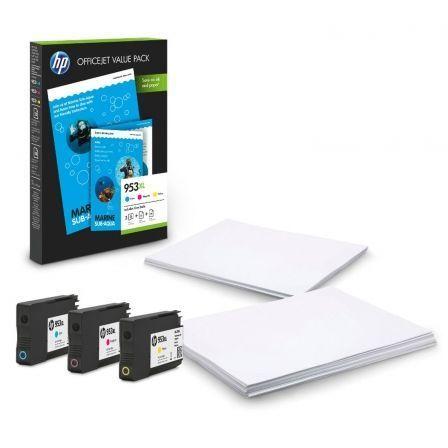 Cartucho de Tinta Original HP nº953 XL Alta Capacidad Multipack/ Cian/ Magenta/ Amarillo + Hojas HP