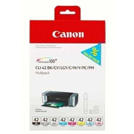 Cartucho de Tinta Original Canon CLI-42 Multipack/ Cian/ Magenta/ Amarillo/ Negro/ Gris/ Gris Claro/ Azul Claro/ Magenta Claro