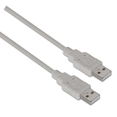 Cable USB 2.0  Aisens A101-0021/ USB Macho - USB Macho/ 1m/ Beige