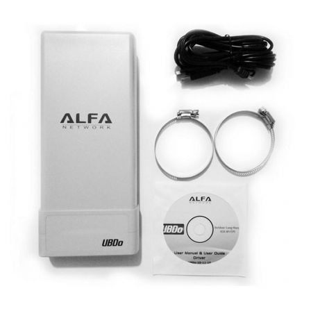 ADAPTADOR USB WIFI ALFA NETWORK UBD0-NT - EXTERNO - LARGO ALCANCE - 2000MW - 12DBI / 2.4GHZ - USB - CABLE 5 METROS