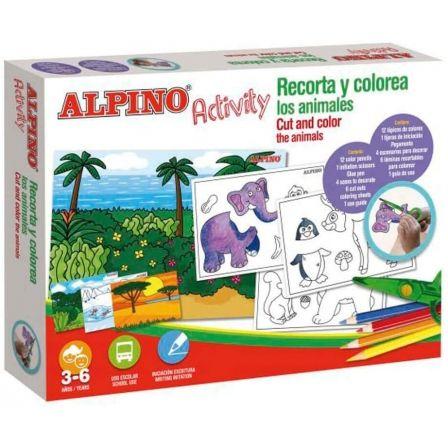 Pack Alpino Activity/ 12  Lápices Colores + Tijera + Pegamento + 4 Escenarios Decorativos + 6 Láminas Recortables