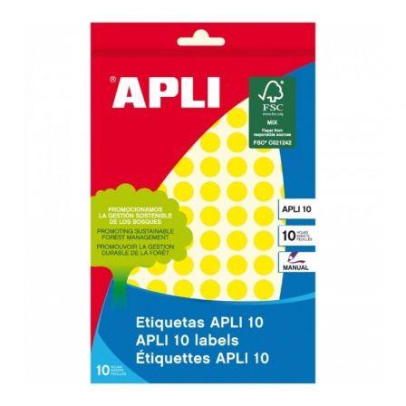 Etiquetas Adhesivas Apli 02730/ Ø10mm/ 8 Hojas/ Amarillo