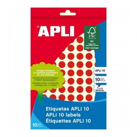 Etiquetas Adhesivas Apli 02732/ Ø10mm/ 8 Hojas/ Rojo