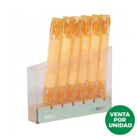 Marcador Doble Punta Fluorescente Apli Candy/ Naranja