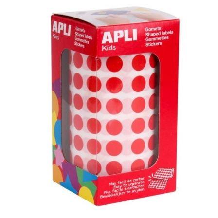 Etiquetas Adhesivas en Rollo Apli 04857/ Ø15mm/ 2832 uds/ Rojo
