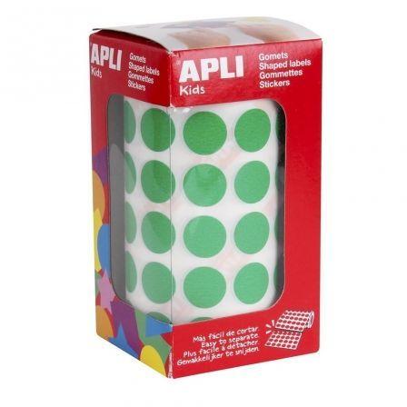 Etiquetas Adhesivas en Rollo Apli 04858/ Ø15mm/ 2832 uds/ Verde