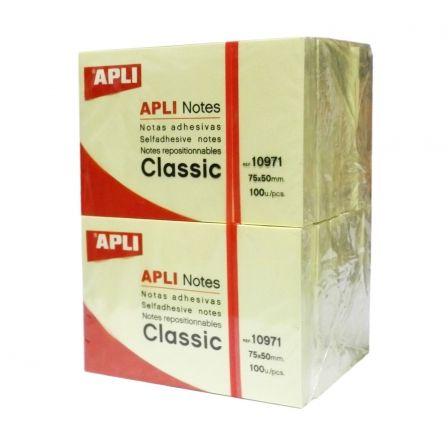Notas Adhesivas Apli 10971/ 5 x 7.5cm/ 12 unidades/ Amarillas