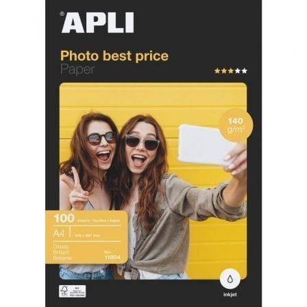 Papel Fotográfico Apli 11804/ DIN A4/ 140g/ 100 Hojas/ Brillante
