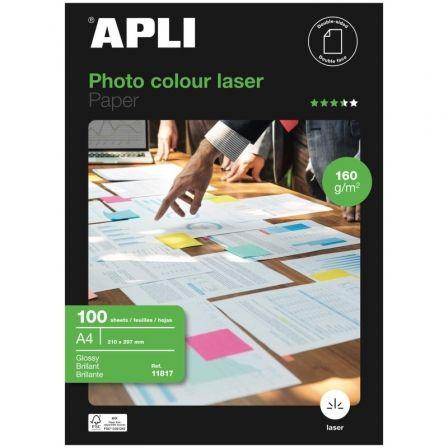 Papel Fotográfico Apli 11817/ DIN A4/ 160g/ 100 Hojas/ Brillante