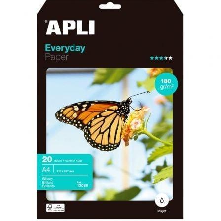 Papel Fotográfico Apli 12080/ DIN A4/ 180g/ 20 Hojas/ Brillante