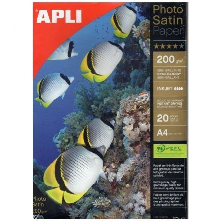 Papel Fotográfico Apli Satin Paper 04453/ DIN A4/ 200g/ 20 Hojas/ Semi Brillante