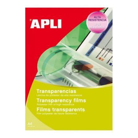 Transparencias sin banda Apli 01062/ DIN A4/ 100 Micras/ 100 Hojas
