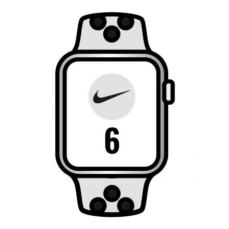 Apple Watch Series 6/ GPS/ 40mm/ Caja de Aluminio/ Correa Nike Deportiva Platino Puro y Negra