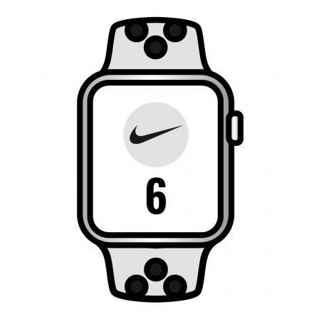Apple Watch Series 6/ GPS/ 44mm/ Caja de Aluminio en Plata/ Correa Nike Deportiva Platino Puro y Negra