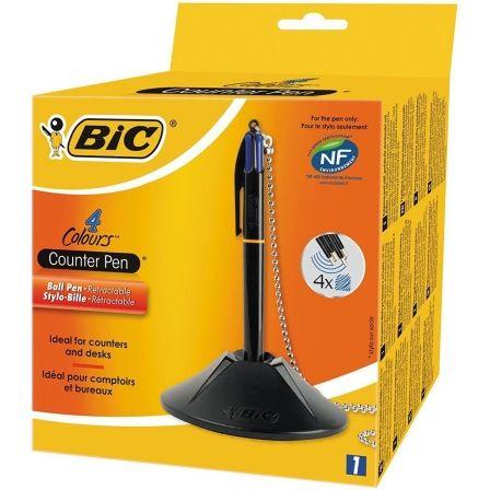 Bolígrafo de Tinta de Aceite Retráctil Bic 918515/ Azul/ Incluye Base + Cadena + 4 Recambios de Tinta