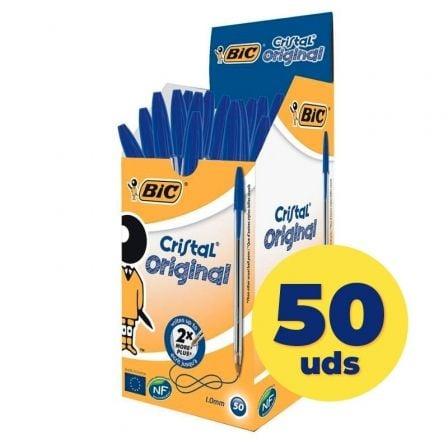 Bolígrafos de Tinta de Aceite Bic Cristal Original 8373609/ 50 unidades/ Azules