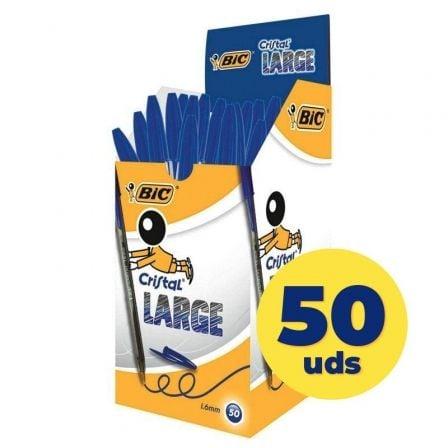 Bolígrafos de Tinta de Aceite Bic Cristal Large 880656/ 50 unidades/ Azules