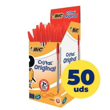 Bolígrafos de Tinta de Aceite Bic Cristal Original 8373619/ 50 unidades/ Rojos