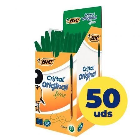 Bolígrafos de Tinta de Aceite Bic Cristal Original Fine 8373629/ 50 unidades/ Verdes