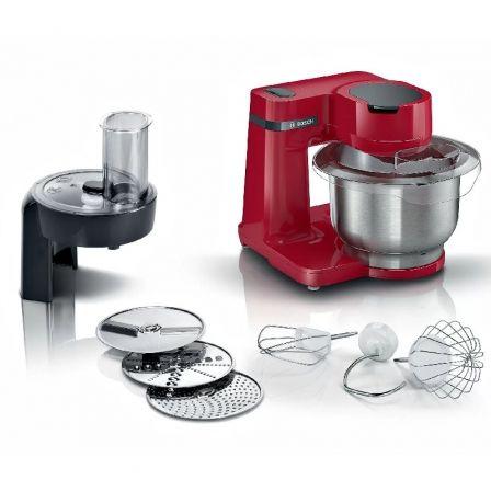 Robot de Cocina Bosch MUM Serie 2/ 700W/ Capacidad 3.8L/ Rojo/ 7 Accesorios