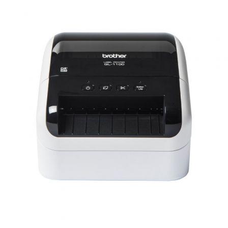 Impresora de Etiquetas Brother QL-1100/ Térmica/ Ancho etiqueta 103mm/ USB/ Blanca y Negra