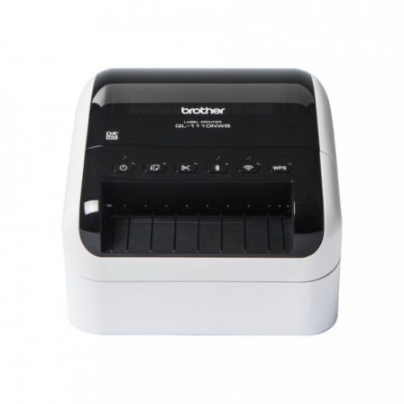 Impresora de Etiquetas Brother QL-1110NWB/ Térmica/ Ancho etiqueta 103mm/ USB-Bluetooth-WiFi-Ethernet/ Blanca y Negra