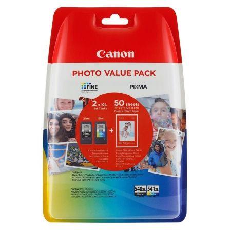 Cartucho de Tinta Original Canon PG-540XL+CL541XL Multipack Alta Capacidad/ Negro/ Tricolor + Papel Fotográfico