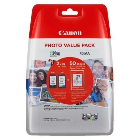 Cartucho de Tinta Original Canon PG-545XL+CL546XL Multipack Alta Capacidad/ Negro/ Tricolor + Papel Fotográfico