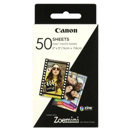 Papel Fotográfico Adhesivo Canon 3215C002/ 5 x 7.6cm/ 50 Hojas/ Compatible con Zoe Mini