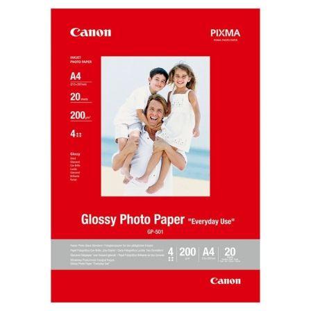 Papel Fotográfico Canon GP-501/ DIN A4/ 200g/ 20 Hojas/ Brillante