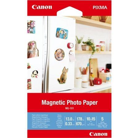 Papel Fotográfico Magnético Canon MG-101/ 10 x 15cm/ 670g/ 5 Hojas/ Brillante