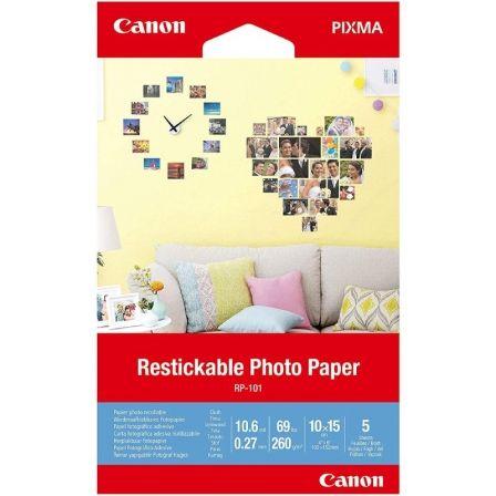 Papel Fotográfico Adhesivo Canon RP-101/ 10 x 15cm/ 260g/ 5 Hojas
