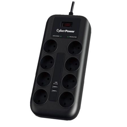 Regleta con Interruptor Cyberpower P0820SUD0-DE/ 8 Tomas de corriente/ 2 USB/ Negra