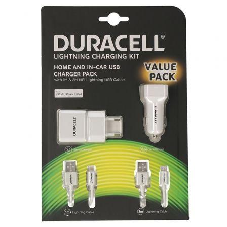 Cargador de Pared/Coche Duracell Valuepack DRBUN002-EU/ 1xUSB/ 1xUSB + 2xCables Lightning/ 2.1A/ 2.4A