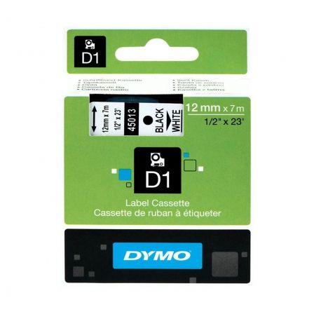 Cinta Rotuladora Adhesiva de Poliéster Dymo D1 45021/ para Label Manager/ 12mm x 7m/ Blanca-Negra