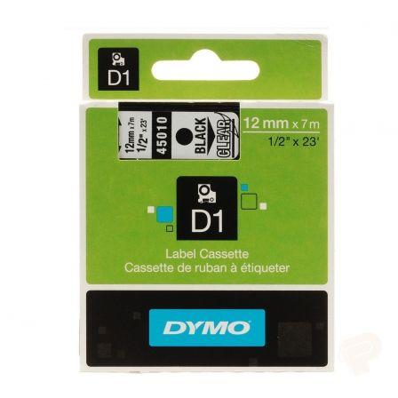 Cinta Rotuladora Adhesiva de Plástico Dymo D1 45010/ para Label Manager/ 12mm x 7m/ Negra-Transparente