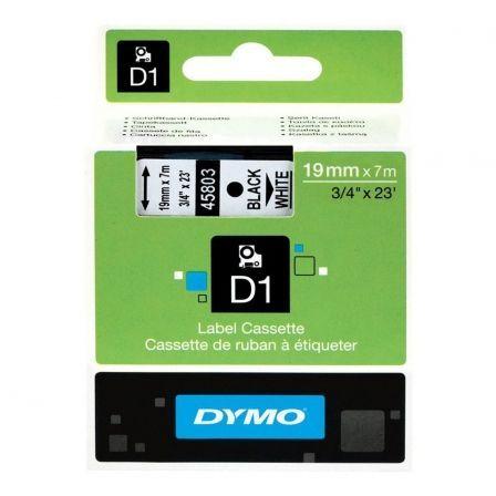 Cinta Rotuladora Adhesiva de Poliéster Dymo D1 45803 para Label Manager/ 19 mm x 7 metros/ Negra-Blanca