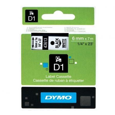 Cinta Rotuladora Adhesiva de Poliéster Dymo D1 43613/ para Label Manager/ 6mm x 7m/ Negra-Blanca