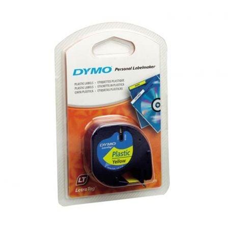 Cinta Rotuladora Adhesiva de Plástico Dymo 91202/ para Letratag/ 12mm x 4m/ Negra-Amarilla