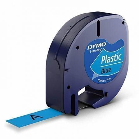 Cinta Rotuladora Adhesiva de Plástico Dymo 91205/ para Letratag/ 12mm x 4m/ Negra-Azul