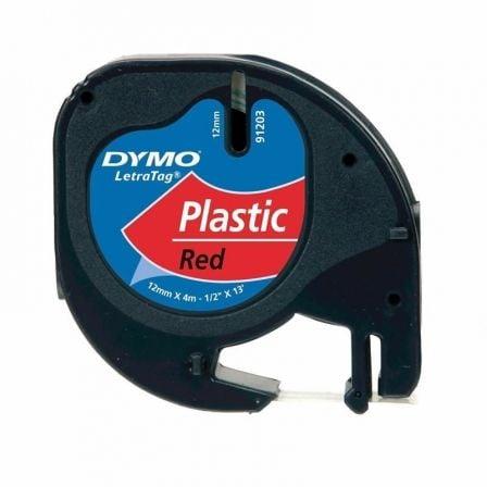 Cinta Rotuladora Adhesiva de Plástico Dymo 91203/ para Letratag/ 12mm x 4m/ Negra-Roja