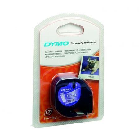 Cinta Rotuladora Adhesiva de Plástico Dymo 12267/ para Letratag/ 12mm x 4m/ Negra-Transparente