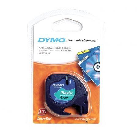 Cinta Rotuladora Adhesiva de Plástico Dymo 91204/ para Letratag/ 12mm x 4m/ Negra-Verde