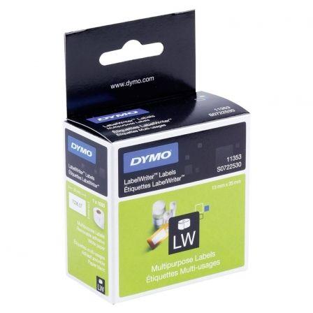 Etiquetas Adhesivas en Rollo Dymo 11353/ 24 x 12mm/ 1000 uds