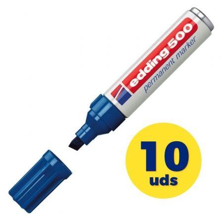 Caja de Rotuladores Permanentes Edding 500/ 2mm/ 10 unidades/ Azules
