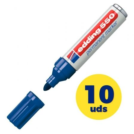 Caja de Rotuladores Permanentes Edding 550/ 3mm/ 10 unidades/ Azules