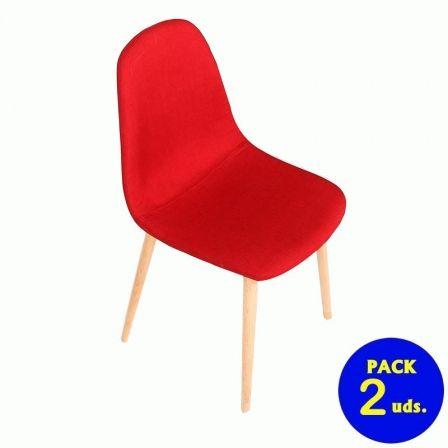 Silla Eurosilla Verona/ Roja/ Pack de 2 unidades