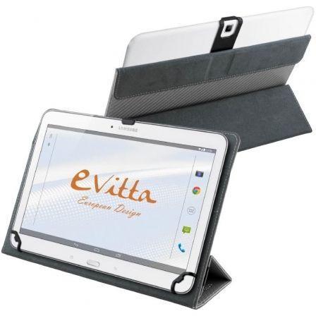 """FUNDA E-VITTA CAMERA FREE PLATA - PARA TABLETS 9-10.1""""/22.86-25.65CM - INTERIOR ATERCIOPELADO - CIERRE SEGURO CON BANDA ELÁSTICA"""