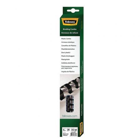 Pack de 25 Canutillos de Plástico para Encuadernación Fellowes 5330302/ 6mm/ Negro