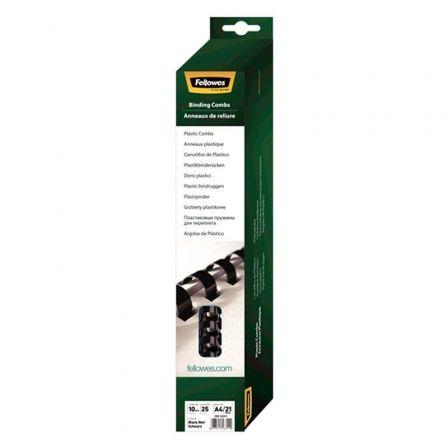 Pack de 25 Canutillos de Plástico para Encuadernación Fellowes 5331102/ 10mm/ Negro